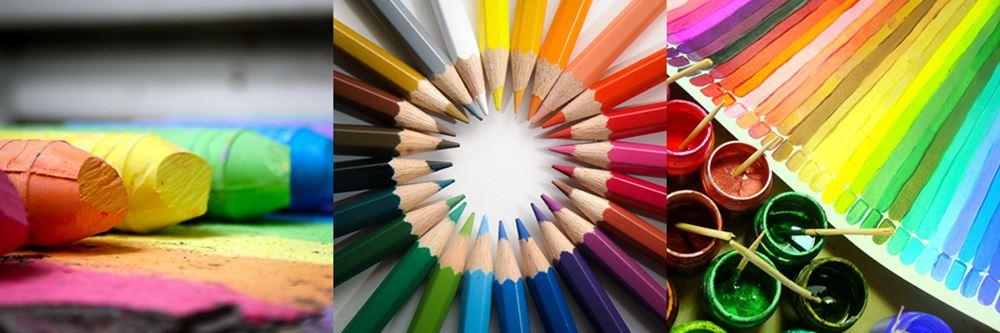 montage atelier, crayons de couleurs